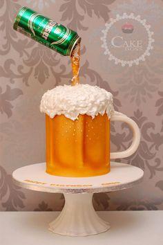 Hennessy Cake, Beer Bottle Cake, Beer Mug Cake, Tall Cakes, Big Cakes, Creative Cake Decorating, Birthday Cake Decorating, Happy Fathers Day Cake, Cake Recipes