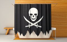 Jolly Roger sail shower curtain. yo ho ho and a morning shower