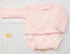 JERSEY DE LANA ROSA 0-3 MESES Material Lana especial bebé rosa (Oso blanco) Agujas de punto del nº 2,5 Aguja de crochet del ...