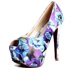omg so cute must have Chic Calico Peep-toe Platform Stiletto Heels