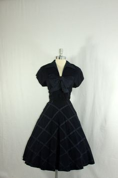Stunning 1950's Vintage Dress - Navy Blue Crepe and Taffeta Trellis on Full Skirt Large Bow Cocktail Party Frock