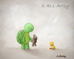 We Can Share  8x10 matted canvas turtle and duck by ALLArtsy