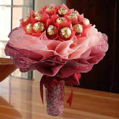 Love For Rochers Bouquet of 16 Pcs Ferrero Rocher Chocolates Special Packing Free Message Card Gift Bouquet, Candy Bouquet, Boquet, Valentine Baskets, Valentine Gifts, Ferrero Rocher Bouquet, Chocolate Flowers Bouquet, Candy Trees, Valentine Bouquet