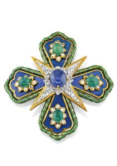 A SAPPHIRE, EMERALD, ENAMEL, DIAMOND, GOLD AND PLATINUM BROOCH, BY DAVID WEBB