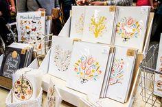 Pre-packaged art prints on cardboard multi level display Craft Fair Displays, Market Displays, Summer Crafts, Holiday Crafts, Craft Fair Table, Renegade Craft Fair, Craft Stalls, Handmade Market, Craft Markets