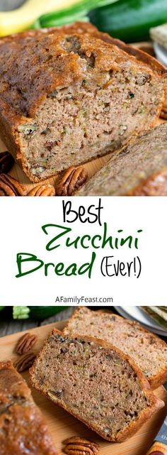 Best Zucchini Bread Ever The Best Zucchini Bread Ever! This is the recipe you've been waiting for! Moist and delicious! Zucchini Bread Ever The Best Zucchini Bread Ever! This is the recipe you've been waiting for! Moist and delicious!The Best Zucchini Bre Best Zucchini Bread, Zuchinni Bread Muffins, Zuchinni Recipes Bread, Best Moist Zucchini Bread Recipe, Easy Zuchinni Bread, Best Zucchini Recipes, Zucchini Fritters, Zucchini Bread Recipe For Bread Machine, Gastronomia
