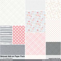 Beloved+Add-On+Paper+Pack graphic patterned in lightly textured 12x12 scrapbook papers in a palette of coral peach and gray