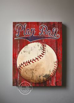 Baseball Art Sports Nursery Canvas Art   Baseball by MuralMAX, $51.00