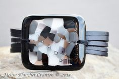 Big black leather bracelet and  gray fused glass by MelisaCreation