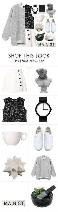 """Art Major"" by rredamancy ❤ liked on Polyvore featuring Misha Nonoo, Visionnaire, Monki, Issey Miyake, Vans, Moe's, FOSSIL, Fresco Towels, Polaroid and monochrome"