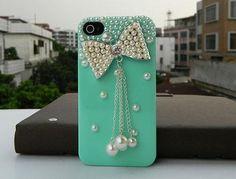 Teal phone case w/ a cute bow!!