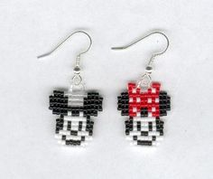 Cute Disney inspired Mickey and Minnie Mouse Beaded Earrings by FoxyMomma on Etsy.