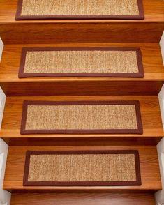 Simple Oriental Carpet On Laminate Wood Stair Treads Design Ideas.