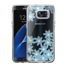 Samsung Galaxy S7 Edge Cyan Flowers Case