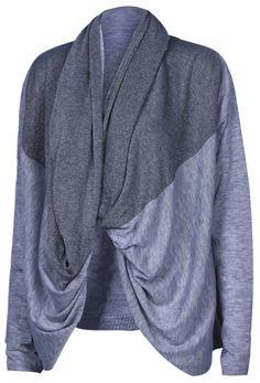 Grey Shawl Collar Long Sleeve Loose Cardigan