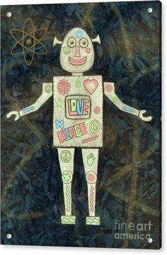 Groovy Acrylic Print featuring the painting Feeling Groovy Robot by Grigorios Moraitis
