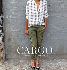 - cute idea for altering my grey cargo pants Grey Cargo Pants, Khaki Pants, Pretty Outfits, Cool Outfits, What To Wear Tomorrow, Equipment Blouse, Olive Green Pants, Sincerely Jules, Cool Style