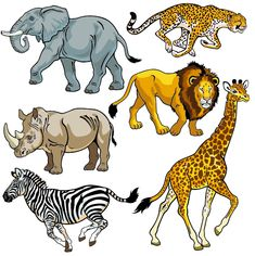 set with africa animals,beasts of savanna,pictures isolated on white background,vector illustration Poster. Jungle Animals, Cute Animals, Wild Animals, African Savanna Animals, 2 Baby, Baby Dogs, Animal Cutouts, Animal Design, Animal Drawings