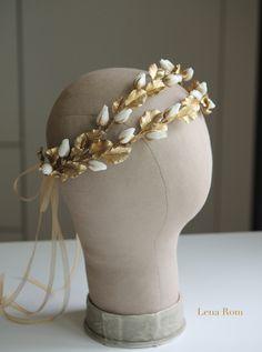Roses buds headpiece. Gold bridal headpiece. Bridal wreath. Wedding headpiece…