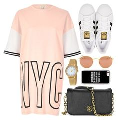 """NYC"" by monmondefou ❤ liked on Polyvore featuring River Island, Tory Burch, Skagen, adidas Originals, Casetify and Ray-Ban"