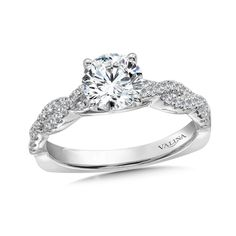 Valina - Diamond Engagement Ring Mounting with Side Stones in 14K White Gold (.31 ct. tw.) #R9893W