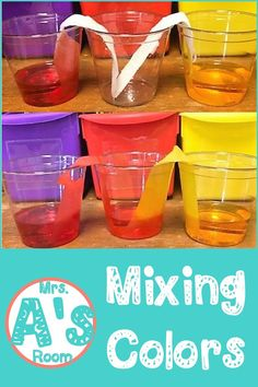 Science activities in preschool and kindergarten are so much fun! And these ideas for mixing colors are no exception! Preschool Color Activities, Kindergarten Math Activities, Health Activities, Preschool Activities, Fine Motor Skills Development, Learning Colors, Color Mixing, Room, Fun
