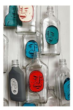 Barry McGee's 'Untitled,' acrylic on glass bottles from 2005.