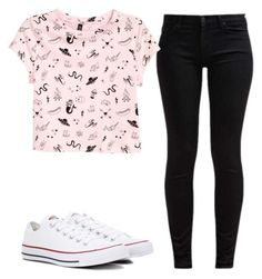 """""""So bored"""" by may-boo ❤ liked on Polyvore featuring 7 For All Mankind, H&M and Converse"""