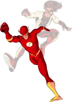 The Flash (Bart Allen). Was also known as Impulse. The second Kid Flash. Also became part of the Teen Titans. Grew up to be the fourth Flash. Died by the hands of Inertia and the Rouges, but came back. Good.