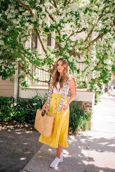 Gal Meets Glam Yellow Midi Skirt - Mih striped shirt, Twenty Tees tank, Sea skirt, Converse sneakers & SeagrassTote bag