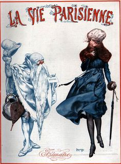 """Beautiful Old Man Winter"" Illustration by Chéri Hérouard for La Vie Parisienne December 1918 via http://www.ephemeraforever.com"