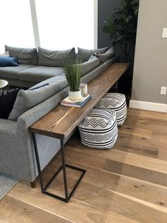 DIY Sofa Tisch - Brooklyn Nicole Homes Wohnkultur . - DIY Sofa Table – Brooklyn Nicole Homes Home decor – home decor diy DIY Sofa Tis - Diy Sofa Table, Sofa Tables, Coffee Tables, Long Sofa Table, Wood Table, Coffee Table Ottoman, Sofa Table Design, Modern Sofa Table, Diy Table Legs
