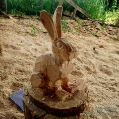 Blocking out a small sitting hare. #woodworking #sculpture #wildlifeart #garden #chainsawcarving #hare