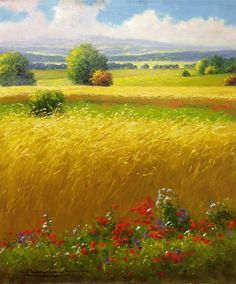 "GERHARD NESVADBA ""Wheatfield"" by Gerhard Nesvadba 24"" x 20"" Oil On Canvas"