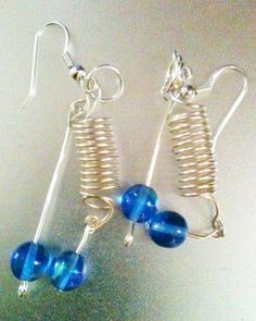 Double Spiral Blue Ball Dangle Pierced Earrings by WithMyJeans, $8.99