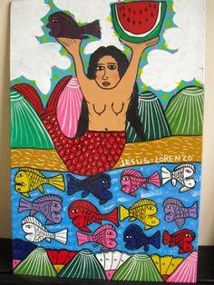 Mexican folk art mermaid by Jesus Lorenzo