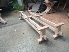 Make your own farmhouse style trestle bench with our bench kit. Designed to accompany our Farmhouse Trestle Table DIY Kit, but can be ordered for use with an existing table, as a hall bench, or extra seating as needed. These bench kits are custom made for the finished length of bench you would like (5 - 8). All you need to do is buy 2 - 2x4 and 1 - 2x6 pieces of lumber or 2 - 2x6 and 1 - 2x4 in the length of your choosing from your local lumber store and attach them to our base kit. Our kits…