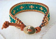 Bead Loom Wrap Bracelet Emerald Green & Gold by MaisJewelry