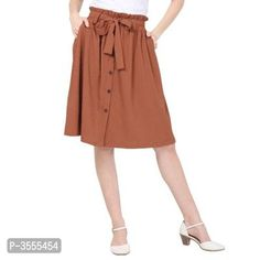 Women's Brown A-Line Tie-Up Skirt With Button Formal Shirts, Casual Shirts, Ethnic Gown, Western Wear For Women, Fashion Gallery, Jumpsuit Dress, Green Cotton, Short Skirts, Party Wear