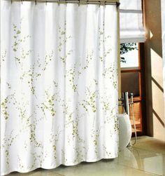 Tahari Green Sprigs Fabric Shower Curtain ** Read More Reviews Of The  Product By Visiting