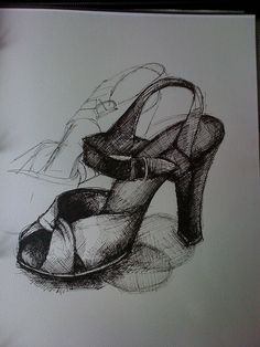 Line Study and crosshatch shading of shoe