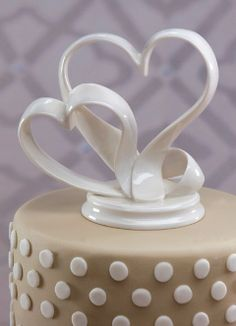 Porcelain Double Hearts Cake Top