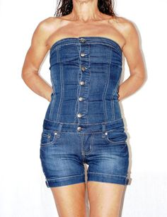 Vintage Denim Romper, Denim Short Jumpsuit, Bandeau, Sleeveless Blue Jumpsuit, Salopette Jeans, Tuta Intera Jeans, US Size XXS di BeHappieWorld su Etsy