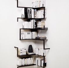 Monochrome modern bookshelves