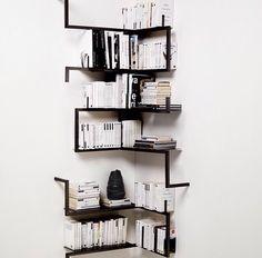 Monochrome modern bookshelves