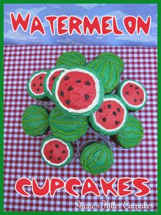 How cute are these watermelon cupcakes?  LOVE! Watermelon Dessert, Watermelon Cupcakes, Summer Desserts, Fun Desserts, Summer Recipes, Cupcake Art, Cupcake Cakes, Cupcake Ideas, Picnic Birthday