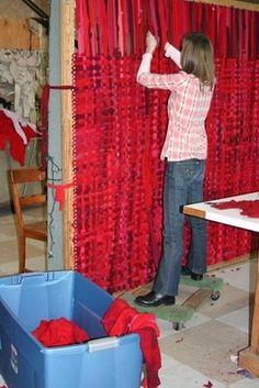 Making potholder rug. -