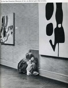 At The San Francisco museum of art an abstract gets close scrutiny!