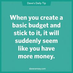 Housewife 2 Hostess: Budgeting 101 – The Dave Ramsey Way … - Finance World 2020 Financial Quotes, Financial Peace, Financial Tips, Financial Planning, Financial Literacy, Budgeting Finances, Budgeting Tips, Dave Ramsey Quotes, Total Money Makeover