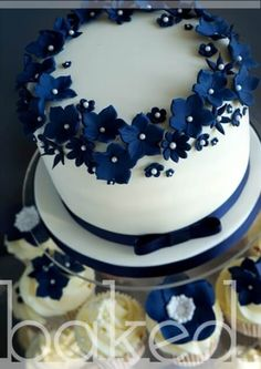 navy blue cupcake wedding cakes navy blue cake great for small in dark blue wedding cake by thisbestidea country chocolat mariage cake cake country cake recipes cake simple cake vintage Navy Blue Wedding Cakes, Small Wedding Cakes, Amazing Wedding Cakes, Wedding Cakes With Cupcakes, Wedding Cake Designs, Cupcake Cakes, Wedding Navy, Floral Wedding, Trendy Wedding